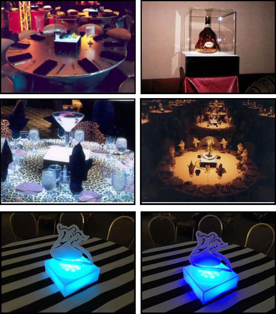 audio video & lighting - light boxes centerpieces