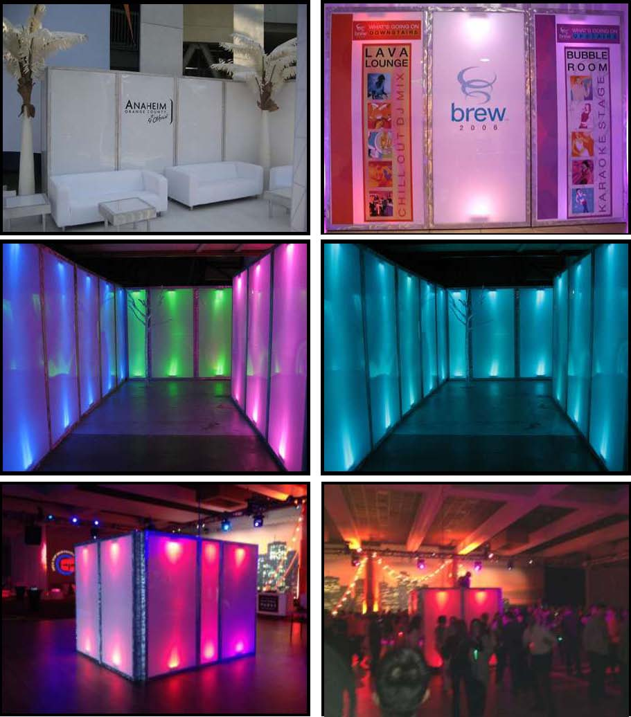 led illuminated upright walls