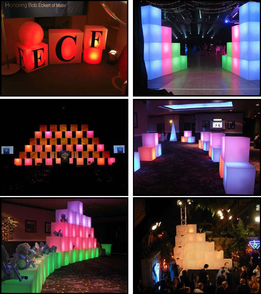 rotocast cubes that are illuminated for entryway or stage or perimeter